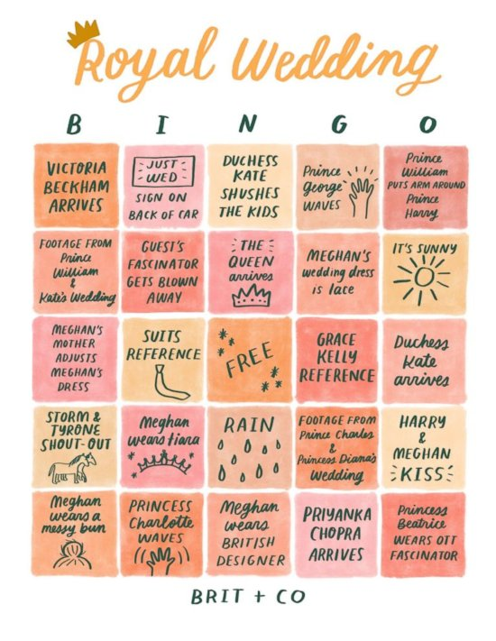 Royal Wedding Bingo Card from Brit & Co