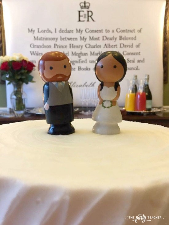 Royal Wedding Viewing Party by The Party Teacher - Harry and Meghan peg people cake toppers