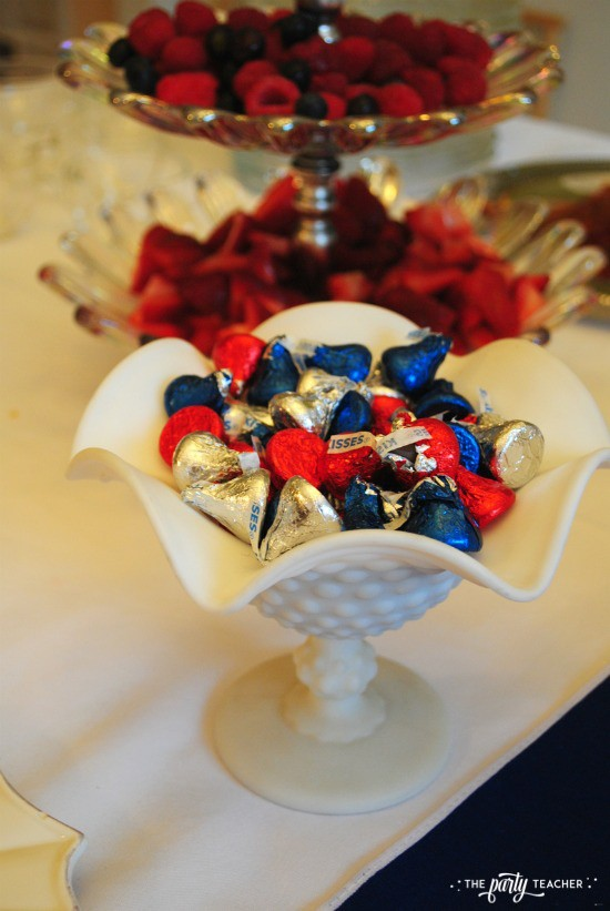 Royal Wedding Viewing Party by The Party Teacher - Hershey Kisses in milk glass candy dish