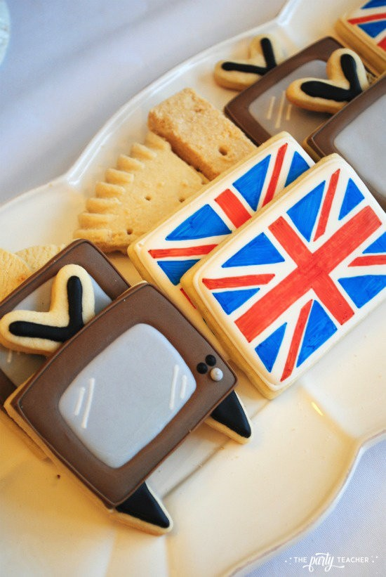 Royal Wedding Viewing Party by The Party Teacher - TV and Union Jack Cookies