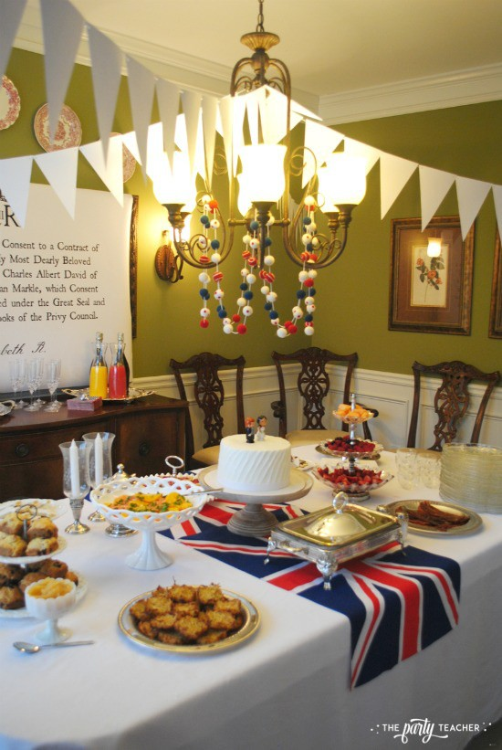 Royal Wedding Viewing Party by The Party Teacher - buffet table with buntings