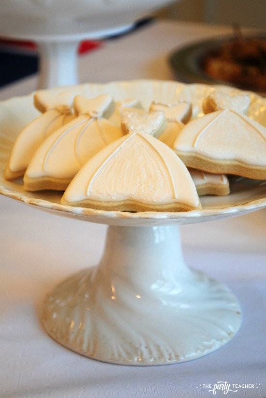 Royal Wedding Viewing Party by The Party Teacher - wedding dress cookies on cake plate