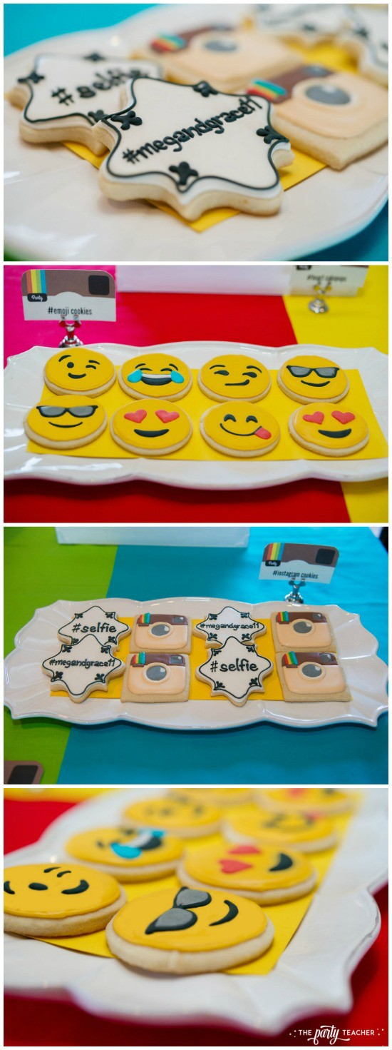 Selfie Scavenger Hunt Birthday Party by The Party Teacher - Instagram cookies and emoji cookies