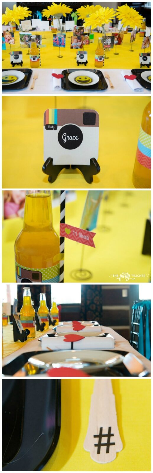 Selfie Scavenger Hunt Birthday Party by The Party Teacher - Instagram inspired dining table setting