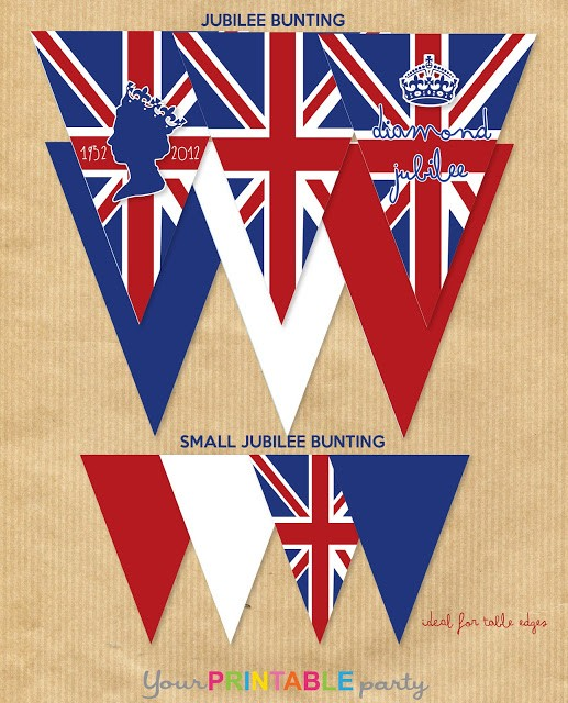 royal wedding free bunting cupcake wrapper printables by Your Printable Party