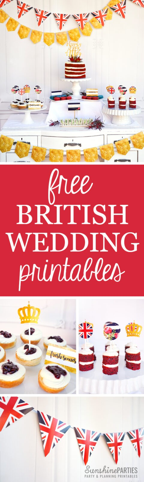 royal wedding free printables set by Sunshine Parties