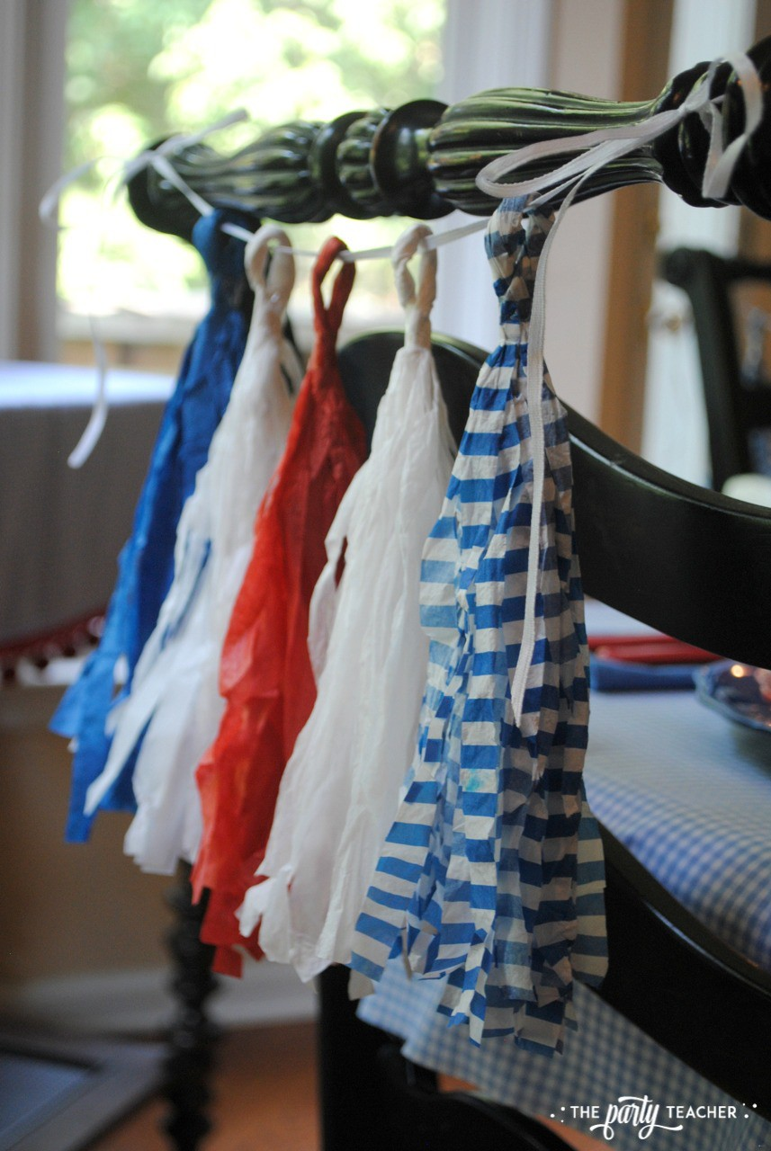 4th of July Kids Table by The Party Teacher - chair tissue tassels