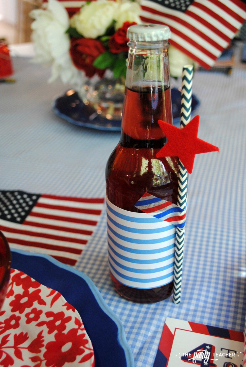 4th of July Kids Table by The Party Teacher - soda bottle