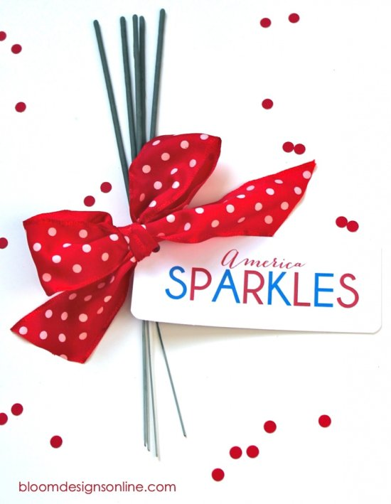 4th of July free sparkler holders by Bloom Designs