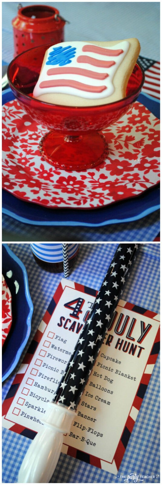 4th of July party kids table by The Party Teacher - place setting with bubble wand and cookie