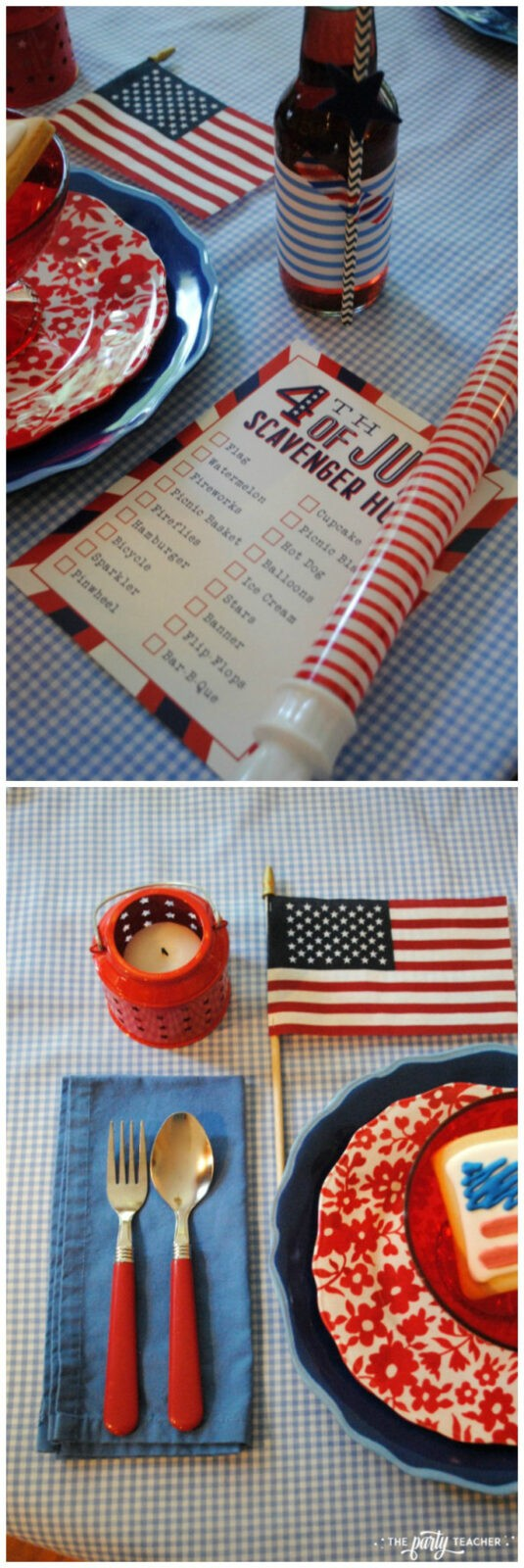 4th of July party kids table by The Party Teacher - red silverware