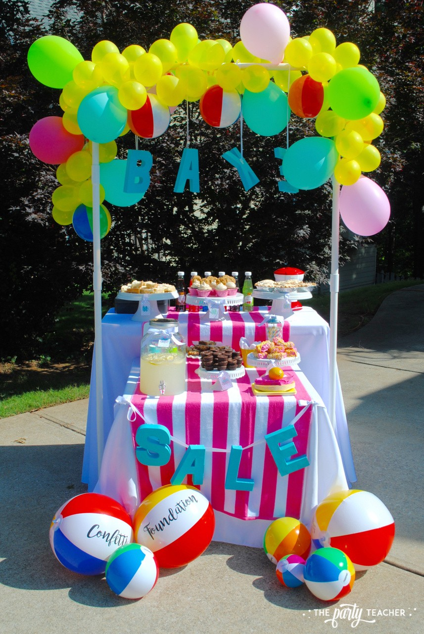 Beachy Bake Sale by The Party Teacher - bake sale stand