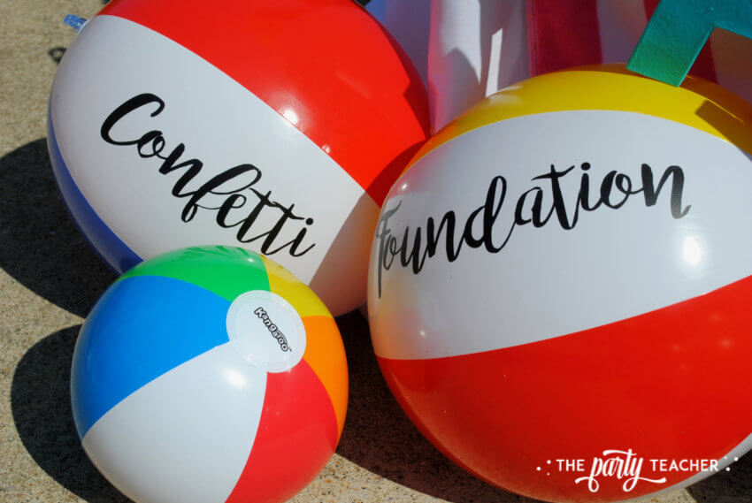 Beachy Bake Sale by The Party Teacher - vinyl lettering on beach balls