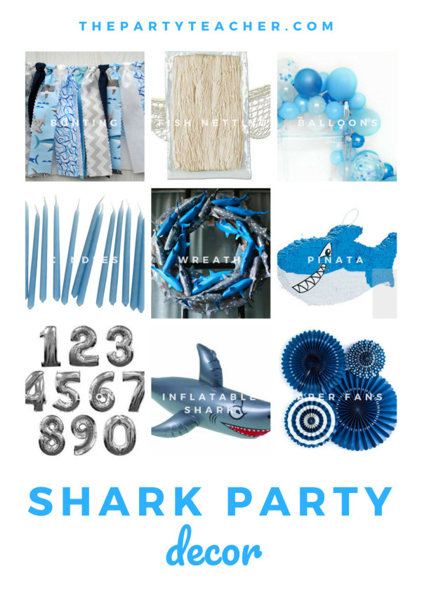 Shark birthday party decor ideas from The Party Teacher