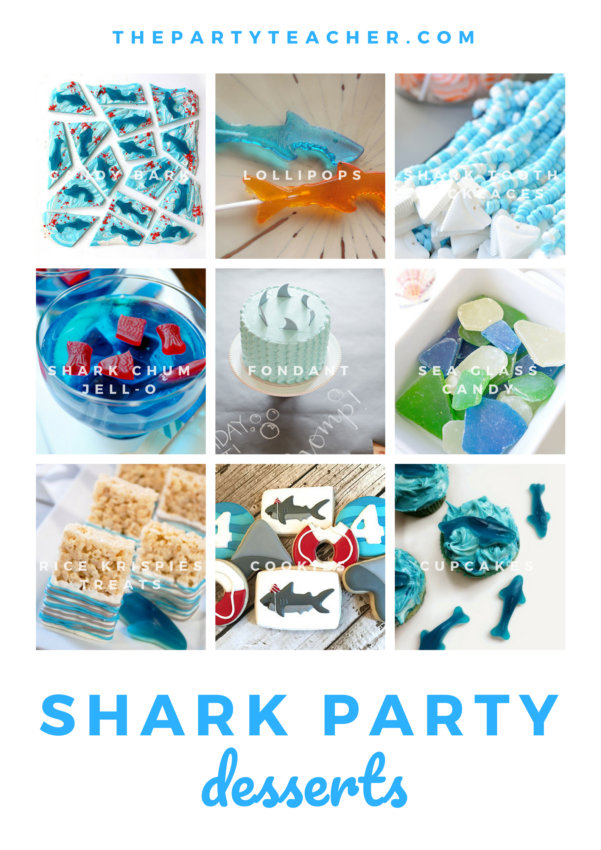 Shark birthday party place setting ideas from The Party Teacher