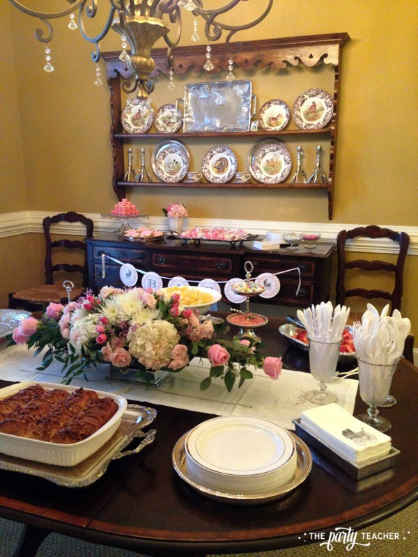 Baby carriage inspired baby shower by The Party Teacher - buffet and dessert tables