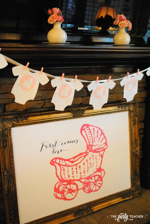 Baby carriage inspired baby shower by The Party Teacher - first comes love
