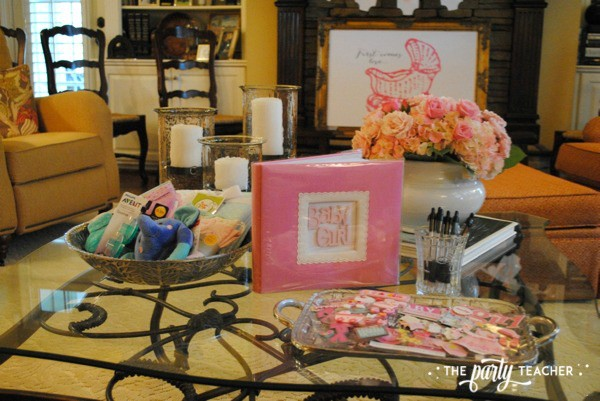 Baby carriage inspired baby shower by The Party Teacher - baby scrapbook