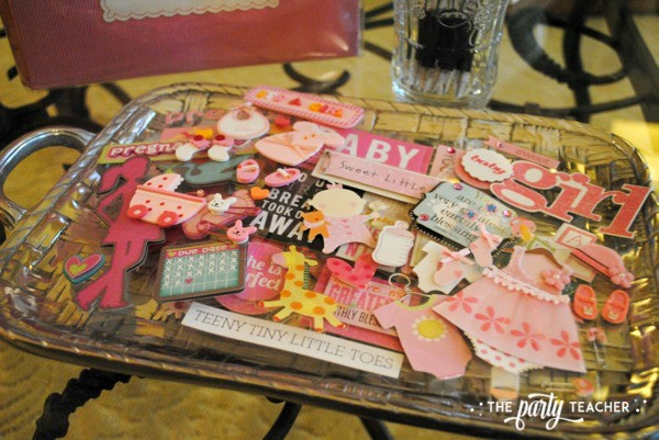 Baby carriage inspired baby shower by The Party Teacher - scrapbook embellishments