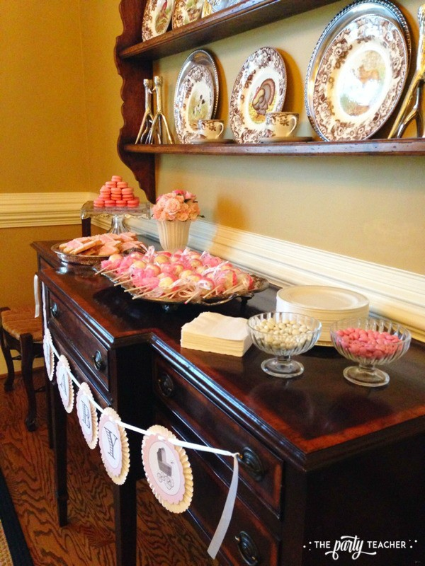 Baby carriage inspired baby shower by The Party Teacher - dessert table