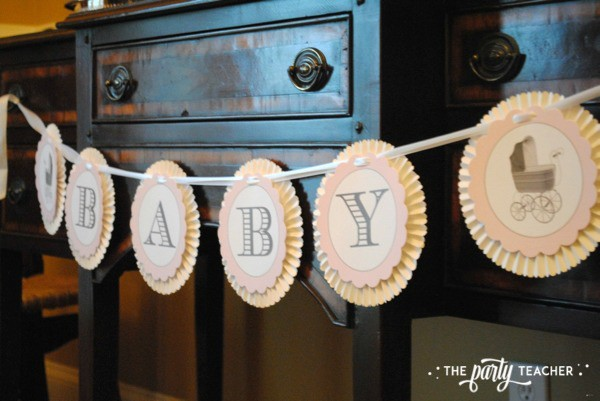 Baby carriage inspired baby shower by The Party Teacher - Loralee Lewis banner