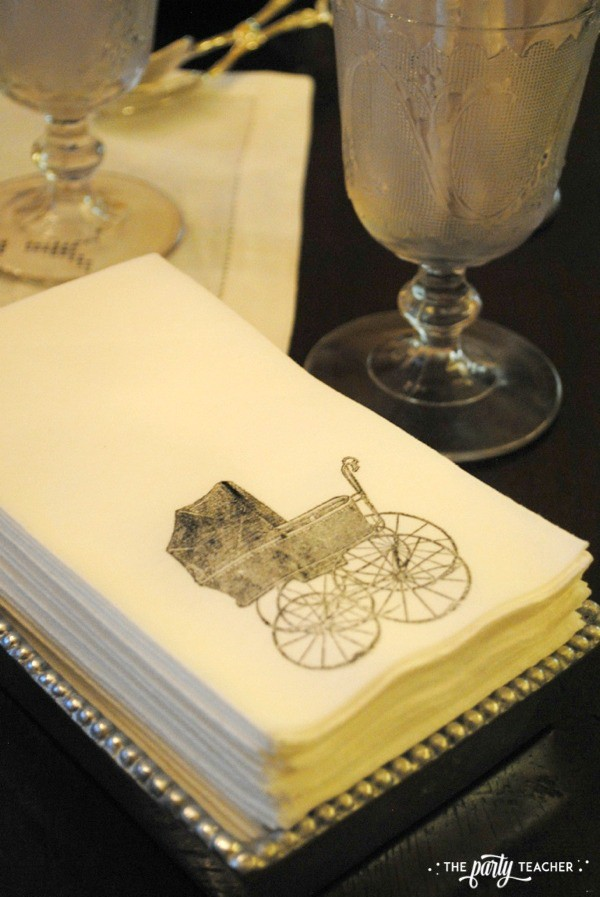 Baby carriage inspired baby shower by The Party Teacher - hand-stamped napkins