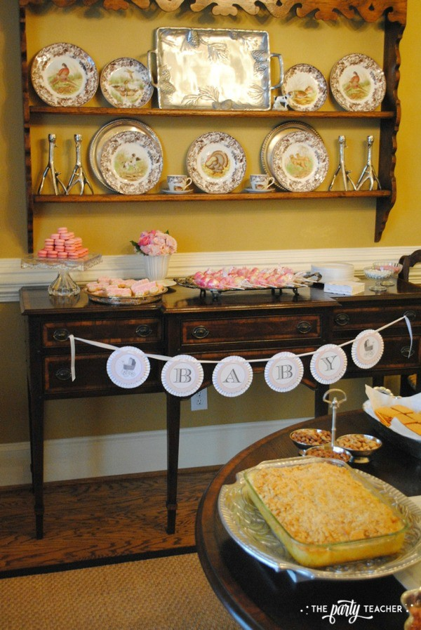 Baby carriage inspired baby shower by The Party Teacher - dessert sideboard