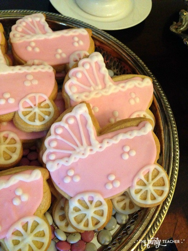 Baby carriage inspired baby shower by The Party Teacher - baby carriage cookies