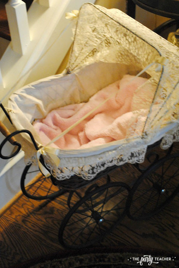 Baby carriage inspired baby shower by The Party Teacher - vintage pram