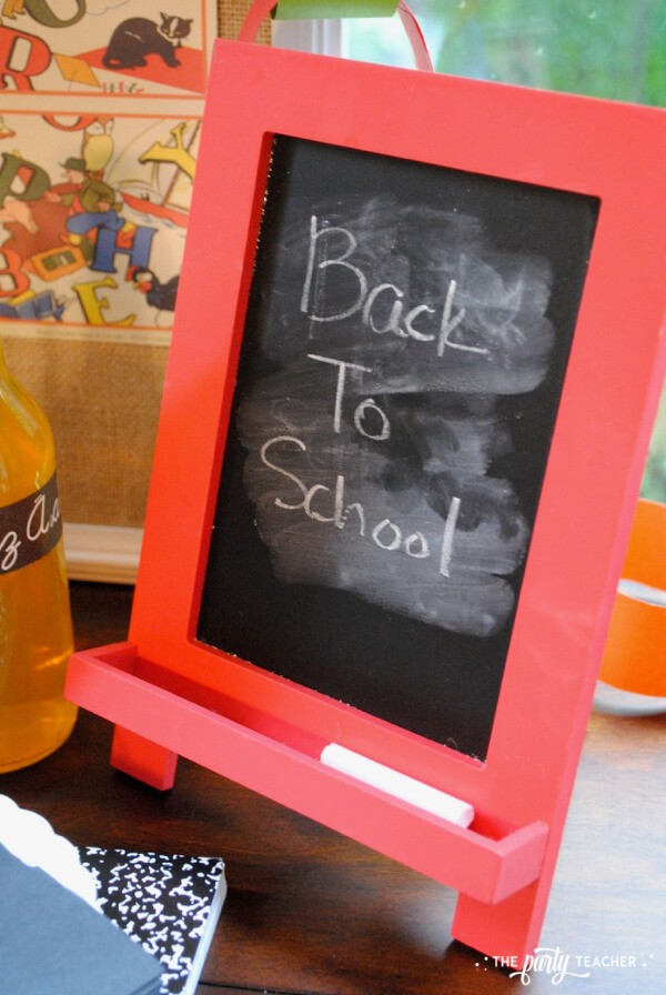 Back to school party by The Party Teacher - chalk board back to school sign