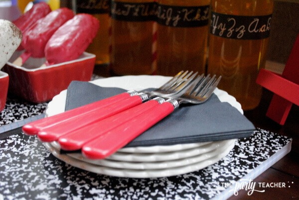 Back to school party by The Party Teacher - use composition book as serving tray