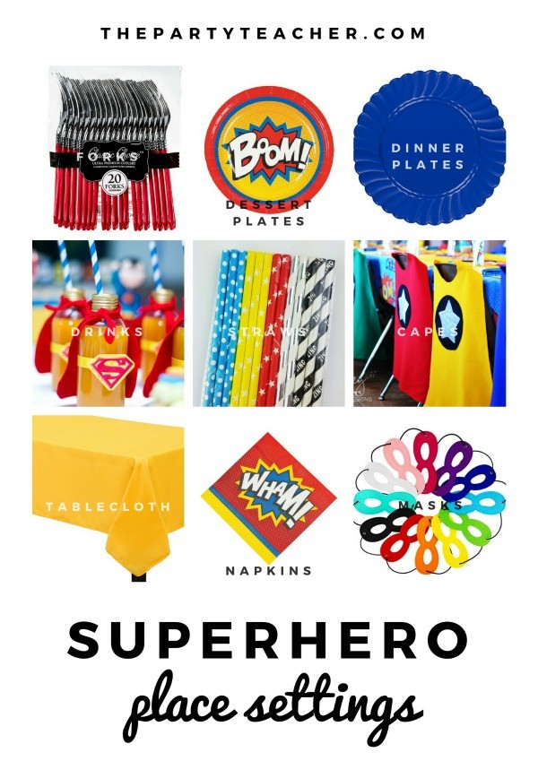 Superhero Mini Party Plan by The Party Teacher - party place settings