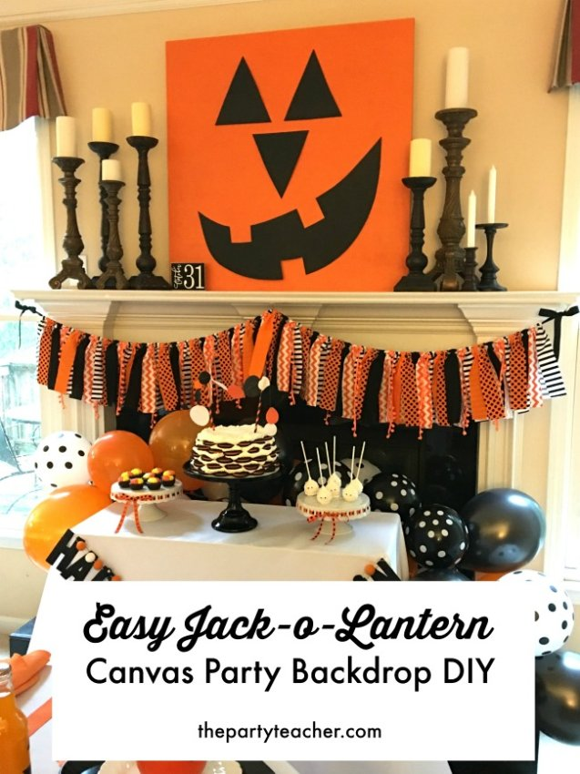 How to make an easy jack-o-lantern canvas party backdrop by The Party Teacher