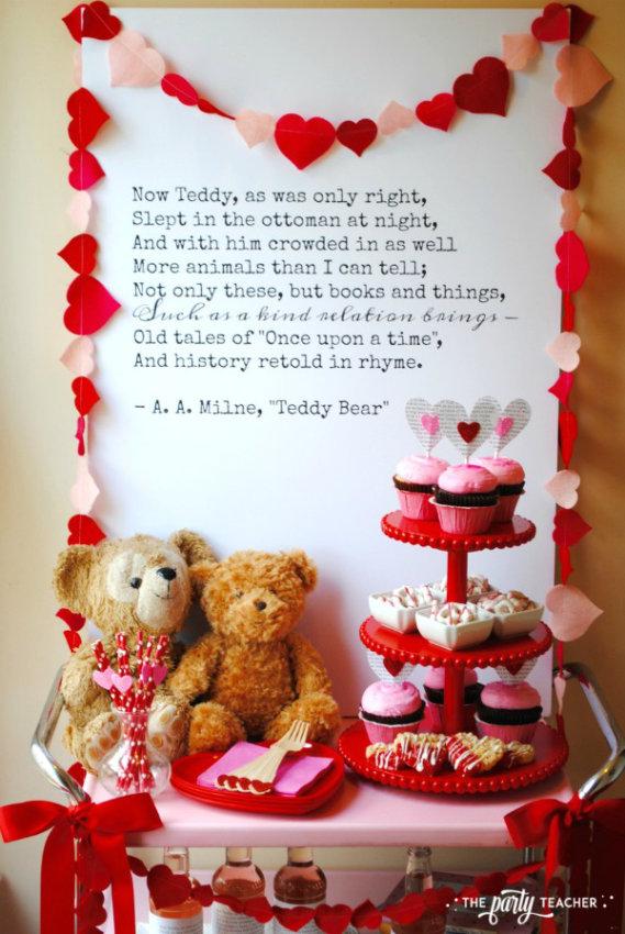 Teddy Bear Valentine's Bar Cart by The Party Teacher - backdrop