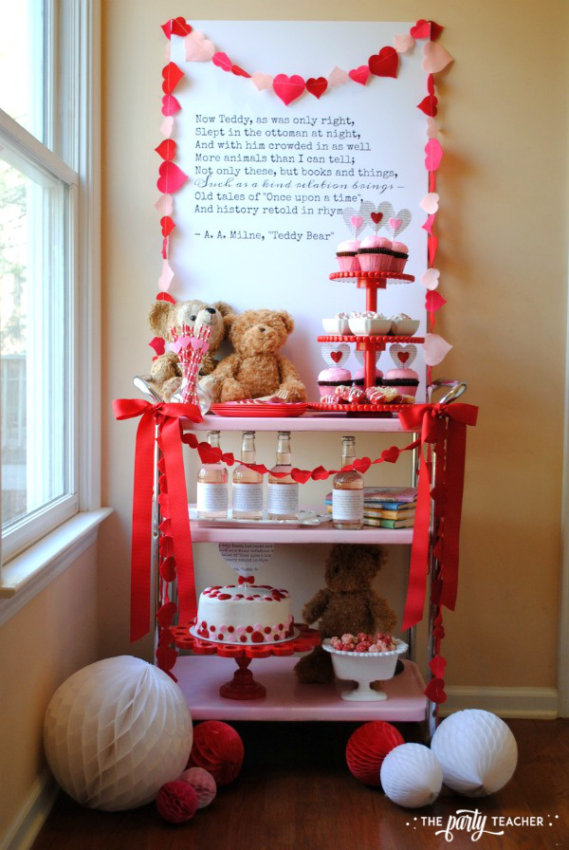Teddy Bear Valentine's Bar Cart by The Party Teacher - bar cart 4