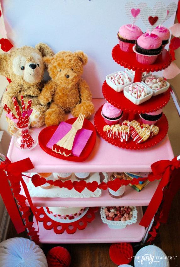 Teddy Bear Valentine's Bar Cart by The Party Teacher - bar cart