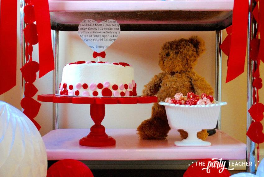Teddy Bear Valentine's Bar Cart by The Party Teacher - bottom shelf of bar cart