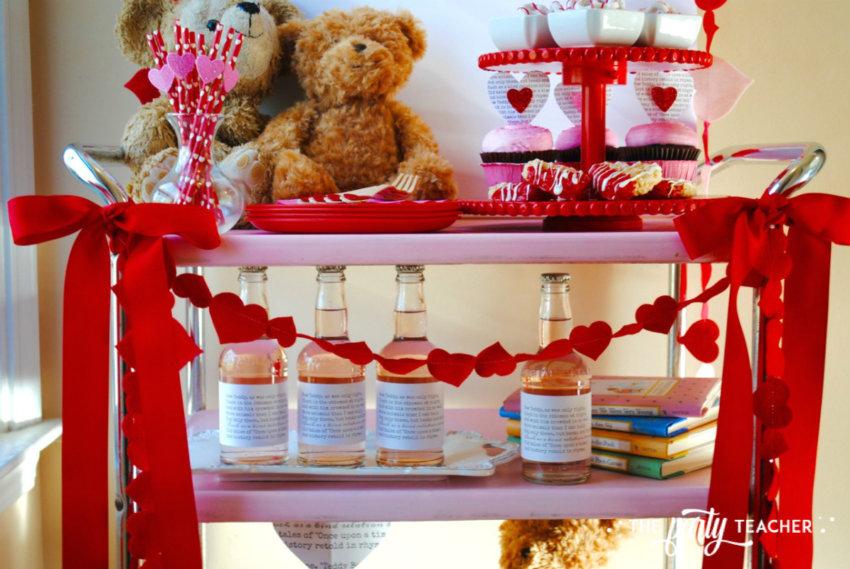 Teddy Bear Valentine's Bar Cart by The Party Teacher - middle shelf of bar cart