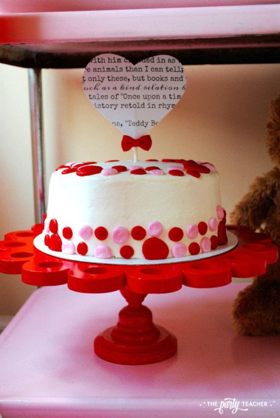 Teddy Bear Valentine's Bar Cart by The Party Teacher - polka dot cake