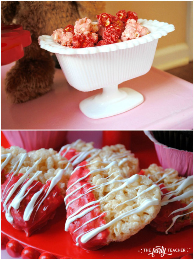 Teddy Bear Valentine's Bar Cart by The Party Teacher - popcorn and Rice Krispies Treats