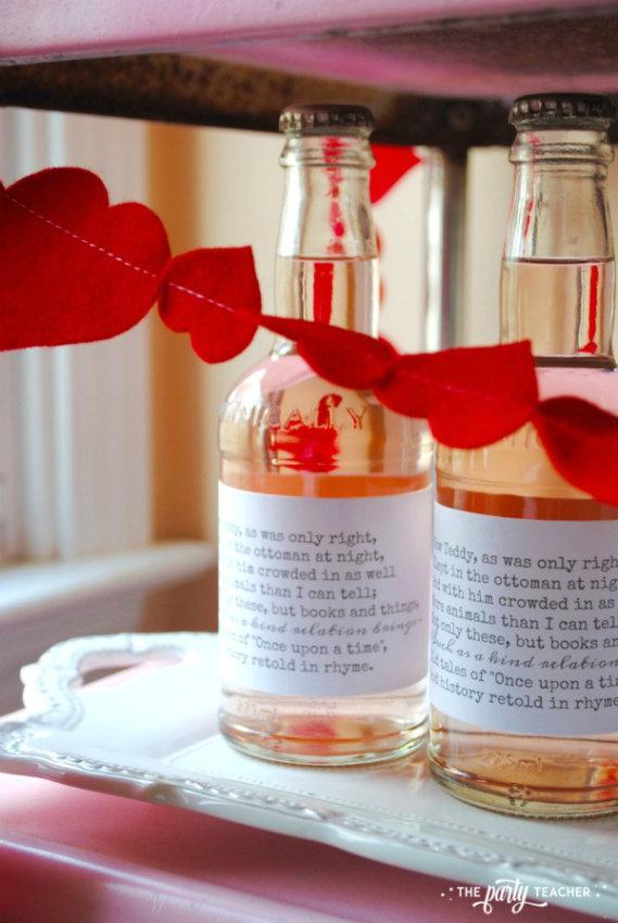 Teddy Bear Valentine's Bar Cart by The Party Teacher - soda bottles