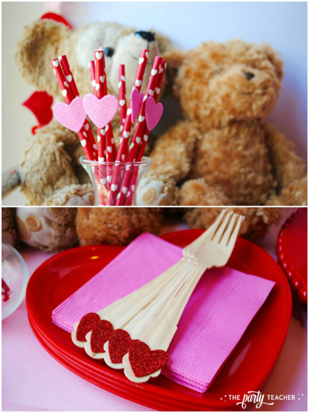 Teddy Bear Valentine's Bar Cart by The Party Teacher - straws and forks