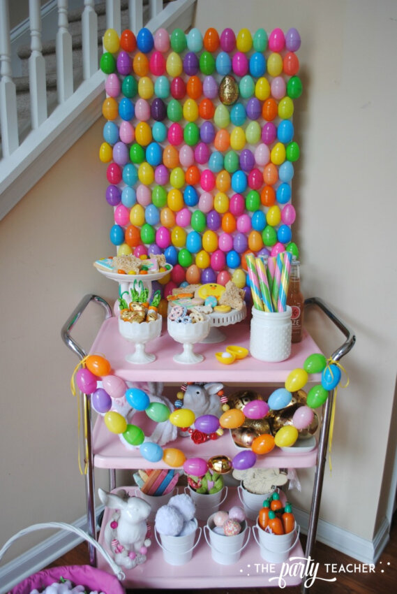 Easter Bar Cart by The Party Teacher - bunny buffet with Easter egg backdrop