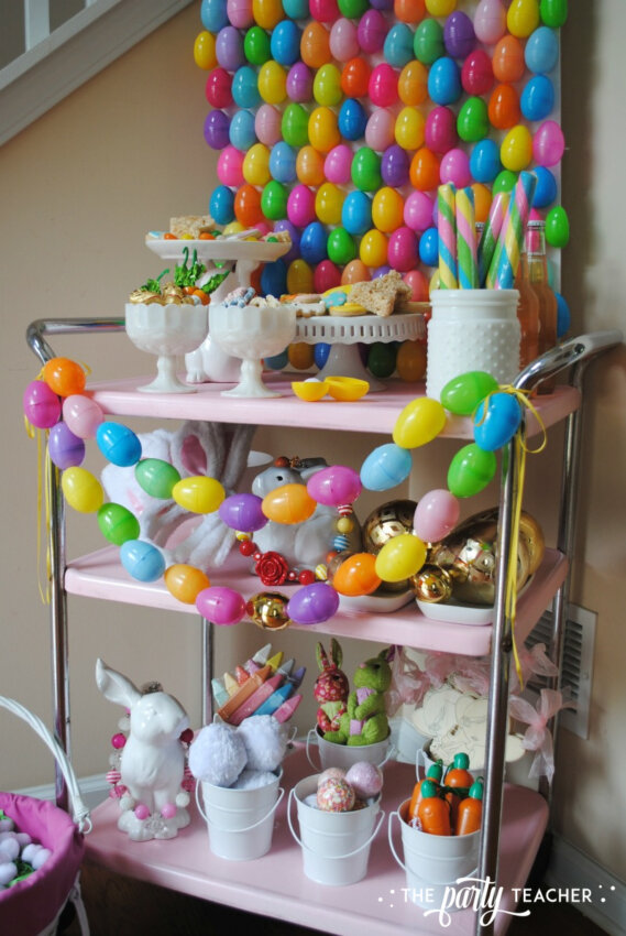 Easter Bar Cart by The Party Teacher - egg hunt bunny buffet