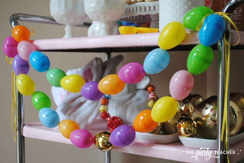 Easter Bar Cart by The Party Teacher - plastic Easter egg garland