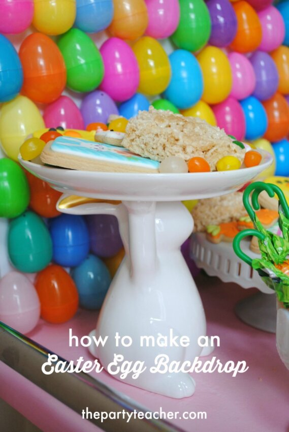 How to make a plastic Easter egg party backdrop by The Party Teacher - 36