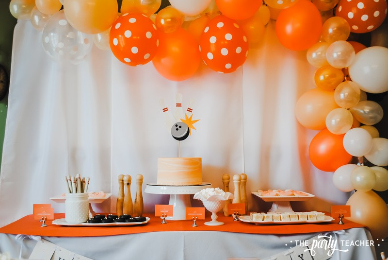 Teen Girls Bowling Party by The Party Teacher - dessert table with balloon garland