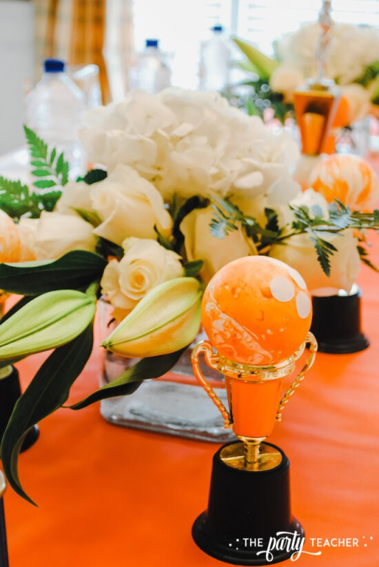 Teen Girls Bowling Party by The Party Teacher - use two floral arrangements to fill your table