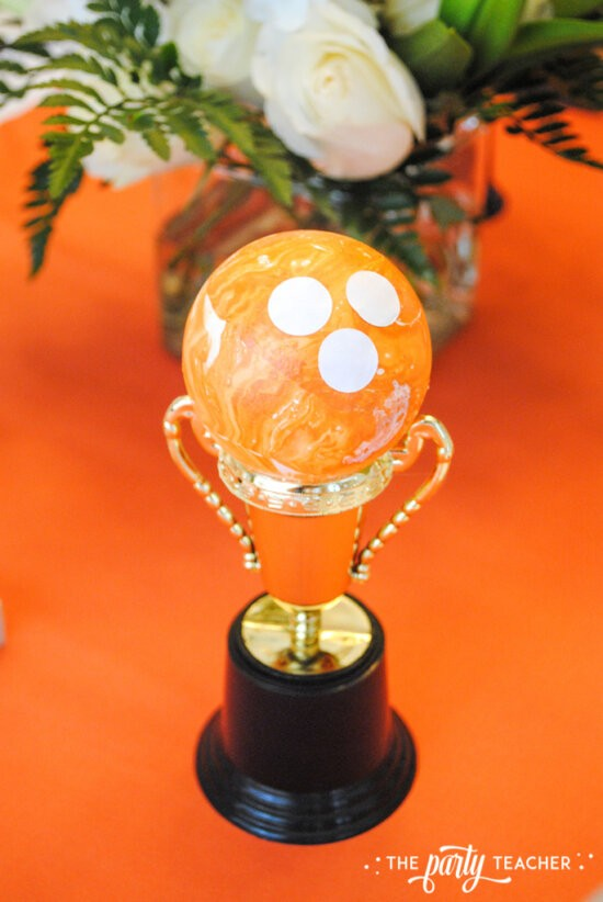 Teen Girls Bowling Party by The Party Teacher - DIY bowling trophy