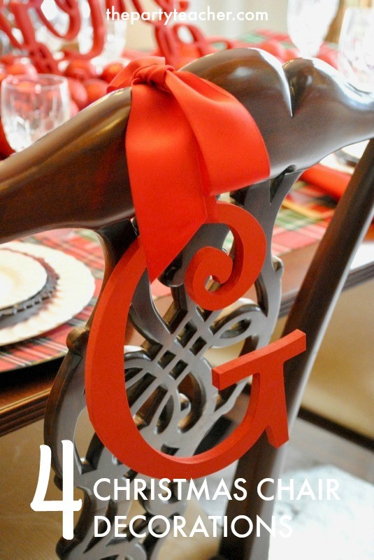 4 Christmas Chair Decorations - Initial - The Party Teacher